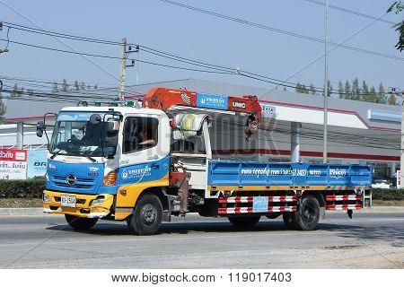 Truck with crane of Nopadol Company.