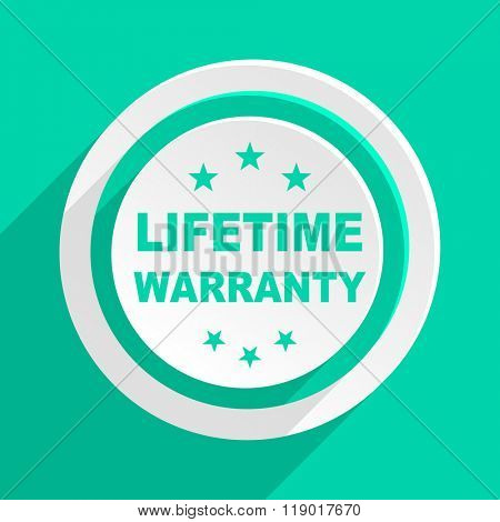 lifetime warranty flat design modern web icon with shadow for internet and app