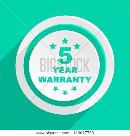 warranty guarantee 5 year flat design modern web icon with shadow for internet and app