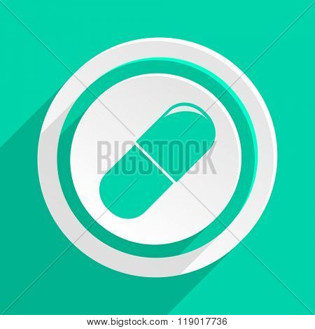 drugs flat design modern web icon with shadow for internet and app