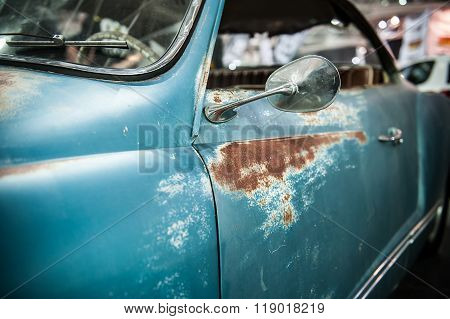 Vintage Blue Car With Rust