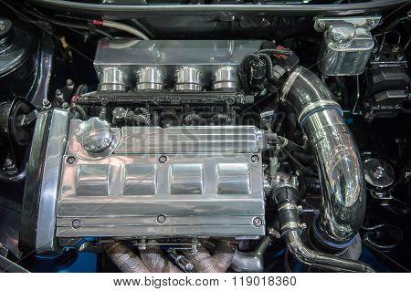 Modern Chrome Car Engine