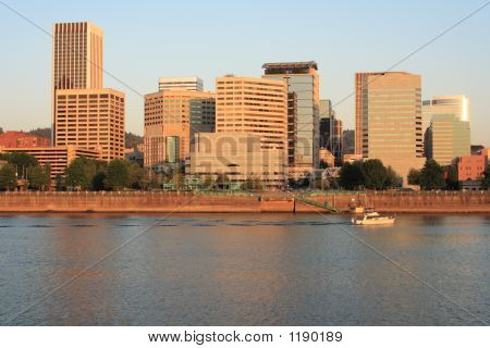 Portland Oregon Skyline In The Early Morning