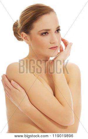 Beautiful spa topless woman.