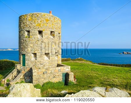 Ancient  Watchtower On The Seacoast Of Guernsey Island