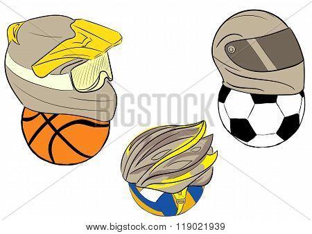 Balls in motorcycle helmets