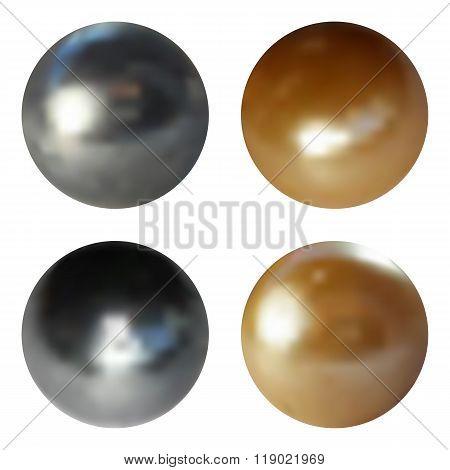 Metallic chrome spheres set on white background, vector illustration