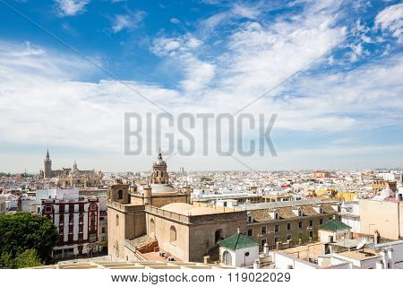Seville Cathedral and cityscape downtown Sevilla, Spain