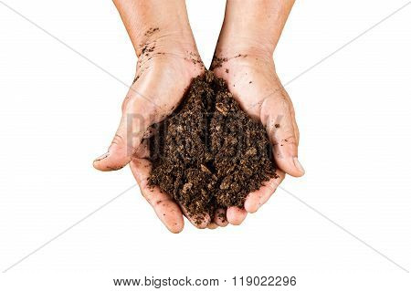 Close Up Hand Holding Soil Peat Moss On Isolated With Clipping Path.