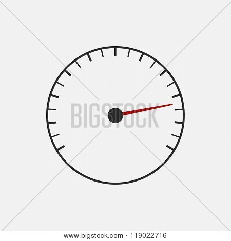 Speedometer or tachometer symbol with arrow on a white background.