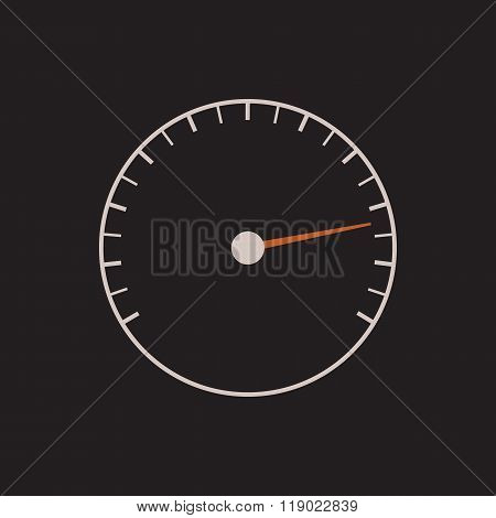 Speedometer or tachometer symbol with arrow on a black background.