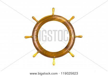 Isolated Ship Steering Wheels Art Frame