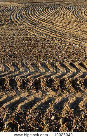 Newly Plowed Clay Soil Field