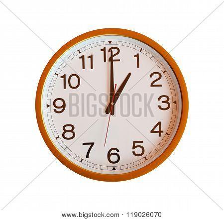 Orange Wall Clock Isolated In One O'clock.