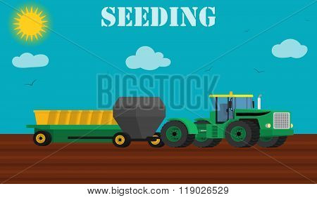 Agriculture design concept - seed planting process using a tractor and seeders.