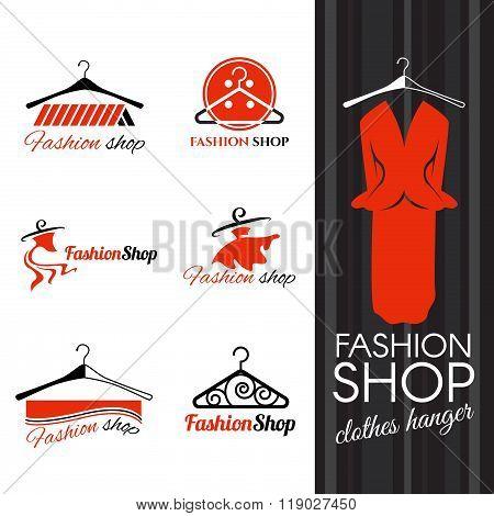 Fashion Shop Logo - Clothes Hanger And Studs Dress Vector Design