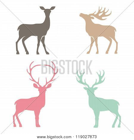 Various silhouettes of deer .