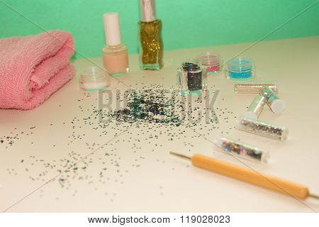 Manicure and pedicure tools for nail art, glitter.