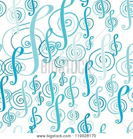 Seamless Music Pattern With A Treble Clef