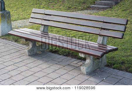 Park Bench With Wooden Planks To Rest