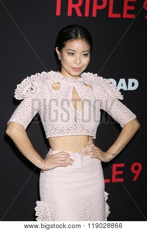 LOS ANGELES - FEB 16:  Michelle Ang at the Triple 9 Premiere at the Regal 14 Theaters on February 16, 2016 in Los Angeles, CA
