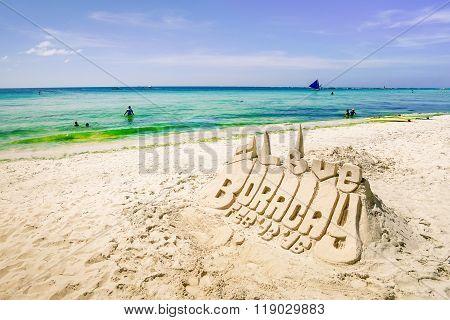 Sand Sculpture In Boracay Seaside  - Exclusive Destination Islands In Philippines - Travel Concept
