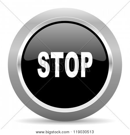 stop black metallic chrome web circle glossy icon