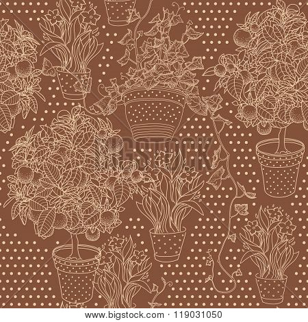 Garden Seamless Pattern With 3 Plants