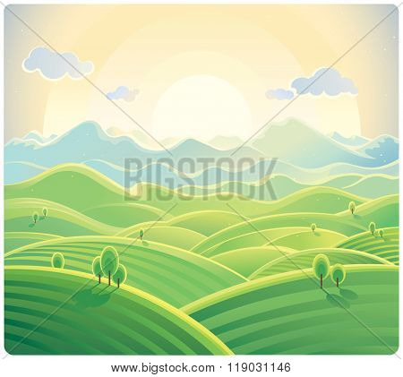 Sunrise over the mountains and hills. Natural landscape.