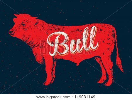 Graphical silhouette bull and inscription. Vector illustration, drawn by hand. Can be used as design element.