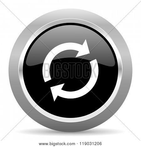 reload black metallic chrome web circle glossy icon