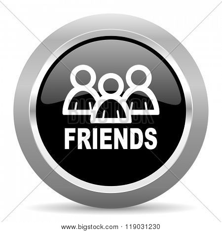 friends black metallic chrome web circle glossy icon