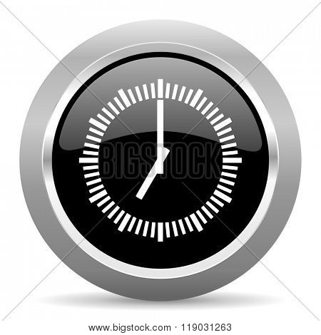 time black metallic chrome web circle glossy icon