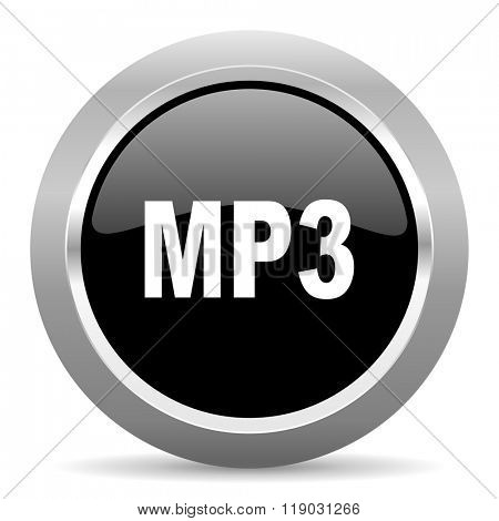 mp3 black metallic chrome web circle glossy icon