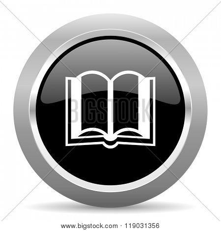 book black metallic chrome web circle glossy icon