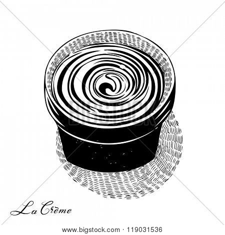 Cosmetic cream in a pot, engraved style drawing, good for organic treatments. Black and white version, vector