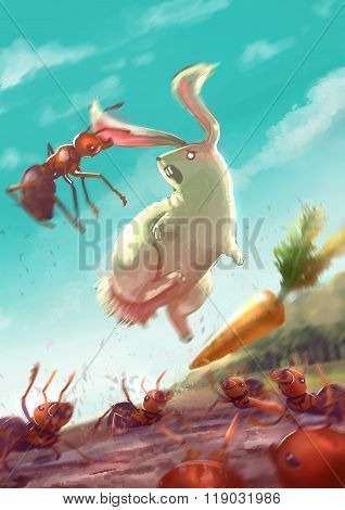 Cartoon Illustration Of Group Of Ants Attack A White Rabbit By Biting It's Ears While The Bunny Is J