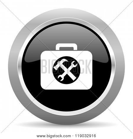 toolkit black metallic chrome web circle glossy icon