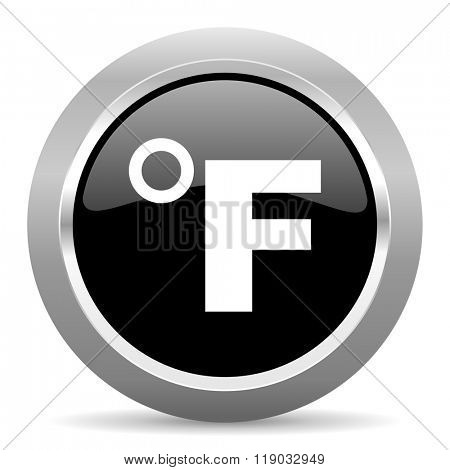 fahrenheit black metallic chrome web circle glossy icon