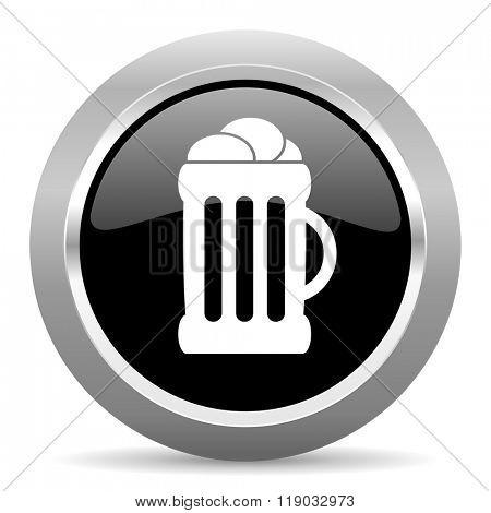 beer black metallic chrome web circle glossy icon