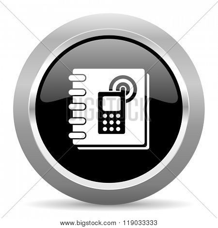 phonebook black metallic chrome web circle glossy icon