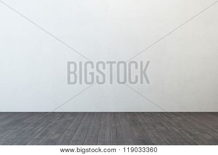 empty room with white wall and wooden floor