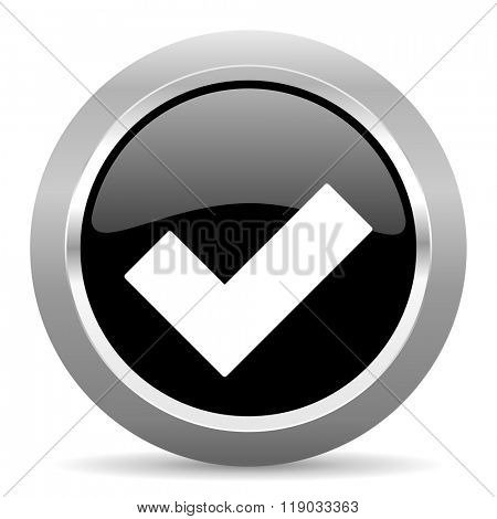 accept black metallic chrome web circle glossy icon