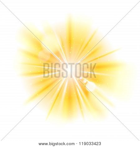 Yellow light sunburst background.