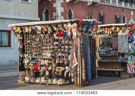 VENICE ITALY - 13TH MARCH 2015: Market stalls along Riva degli Schiavoni in the San Marco district of Venice during the day