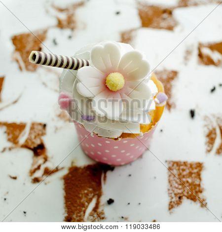 Closeup decorations design of Wedding sweet Cupcake