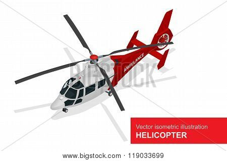 Red helicopter. Vector isometric illustration of  Medical evacuation helicopter. Air medical service