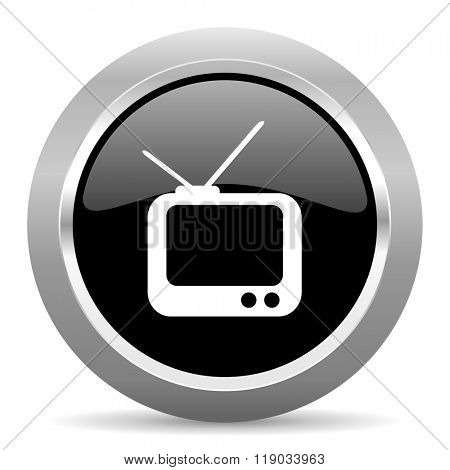 tv black metallic chrome web circle glossy icon