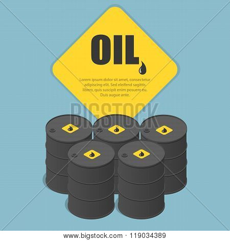 Metal oil barrel. Oil, petroleum, tank car, tanker. Oil industry business. Flat 3d isometric infogra