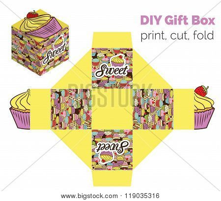 Sweet Do It Yourself Diy Cupcake Packaging For Deserts, Candies, Small Gifts, Toys. Printable Color